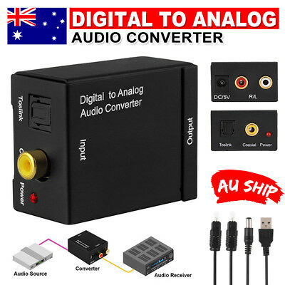 Digital Optical Coax Coaxial Toslink to Analog Audio Converter RCA Cable Adapter