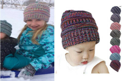 Fashion Children Baby Boys Girls Mix Color Winter Cap Wool Knitted Warm Hat Hot