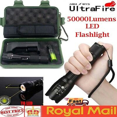 Police Tactical Power 50000LM T6 LED Flashlight Zoomable Torch+18650+Charger UK