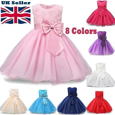 Girls Baby Bridesmaid Dresses Flowers Kids Party Rose Bow Wedding Dress Princess