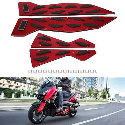1 Pair Aluminum Foot Peg Plate Footrest Step Pad Red For Yamaha NMAX155 Nmax125