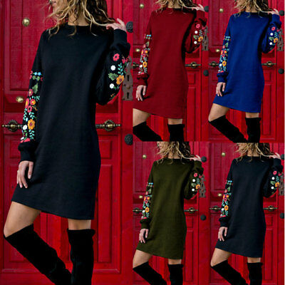 UK Womens Long Sleeve Sweatshirt Floral Jumper Dress Pullover Tops Shirt Blouse