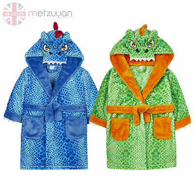 Boys Dinosaur Dragon Dressing Gown Robe Kids Childrens Plush Fleece Warm Gift