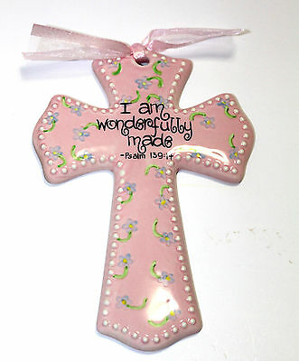 "I am Wonderfully Made-Ceramic Glazed Cross-8"" High-Pink Great Gift"