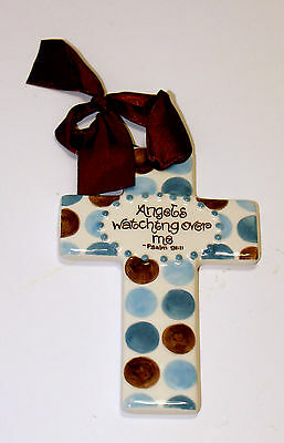 "Angels Watching Over Me-5""-Blue Ceramic Cross"