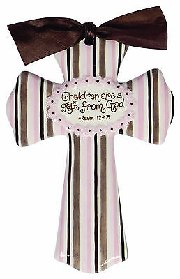 "Children Are a Gift from God-Ceramic Glazed Cross-8"" High-Pink Great Gift"
