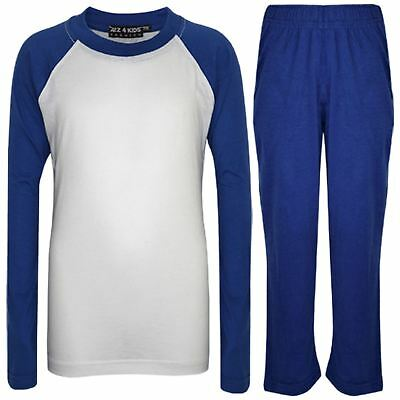 Kids Girls Boys Pyjamas Designer Plain Royal Blue Contrast Sleeves Nightwear PJS
