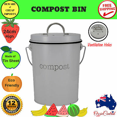 24cm Home Compost Bin Waste Composter Food Garden Recycling Tumbler Scrap Trash
