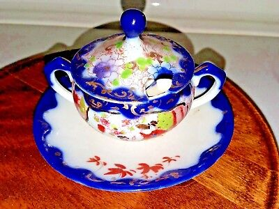 Oriental Porcelain Tiny Sugar Bowl W/spoon & Lid Dark Blue Hand Painted Old
