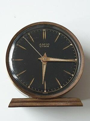 Cyma Amic Swiss travel Alarm Clock watch modele depose intern vintage