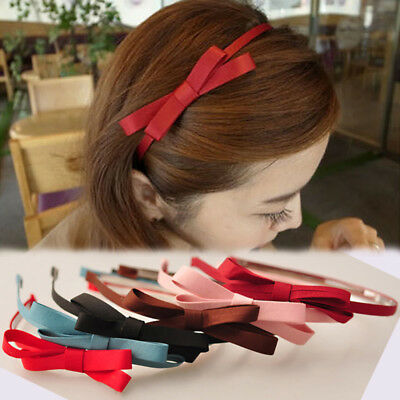 Cute Bow-knot Hairband Bow Headband Hair Hoop Accessories Solid Color Women Girl