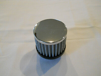 """Chrome Washable Push In Valve Cover Breather 1 1/4"""" Hole w/ built in Grommet"""
