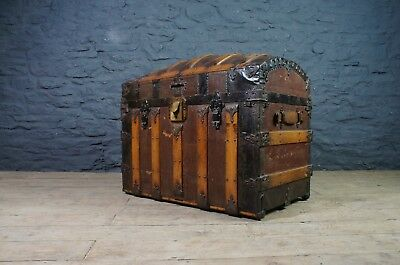Fabulous Antique American Travel Trunk ~ Inner Compartments ~ New Orleans ~ VGC