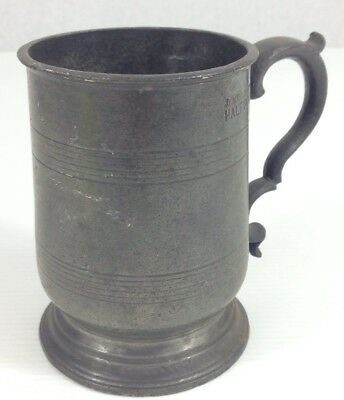Antique Pewter James Yates Half Pint Measure Tankard 10cm In Height
