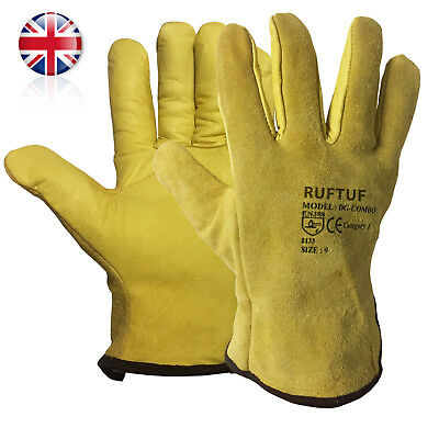 10 x  Drivers Gloves Split Leather Fleece Lined Lorry Driving Work Glove Premium