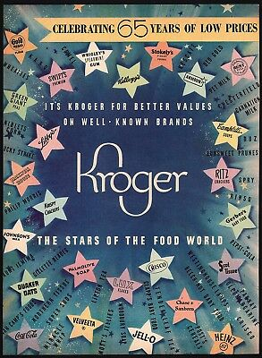Vintage magazine ad KROGER Stars of the Food World Coca Cola Jell O 1947 2 page