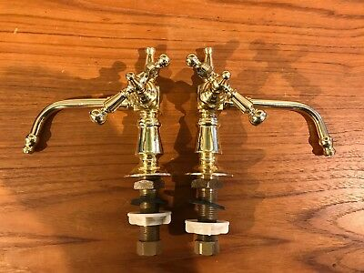 Pr. Solid Brass Faucets for antique marble sink Reproduction leftover stock NEW