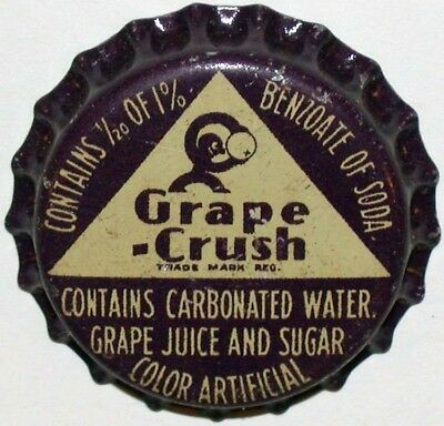 Vintage soda pop bottle cap GRAPE CRUSH with Crushy cork lined new old stock