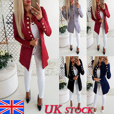 UK Womens Ladies Long Sleeve Blazer Open Front Suit Long Jacket Coat Size 10-16