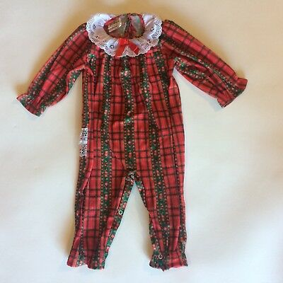 Vintage Girls 24 Months Pajamas Red Plaid Christmas Lace Ruffle Bottom Polyester
