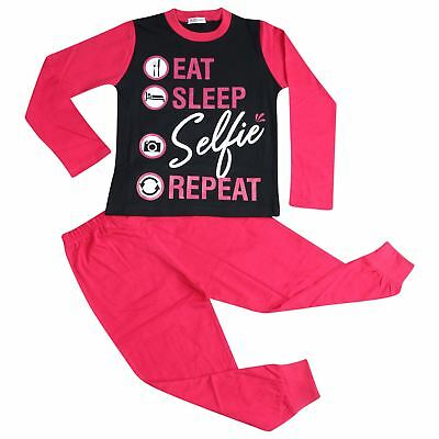 Kids Girls Pyjamas Designer Eat Sleep Selfie Repeat Pink Lounge Wear PJS 2-13 Yr
