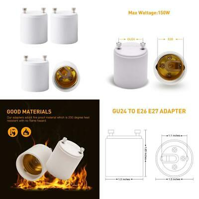 JACKYLED GU24 to E26 E27 Adapter 4-pack Heat Resistant Up 200℃ Fire Converts...