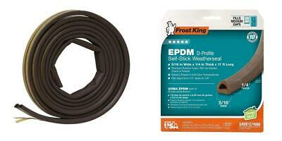 """Frost King EPDM Rubber Self-Stick Weatherseal Tape, D-Section, 5/16"""" W, 1/4""""..."""
