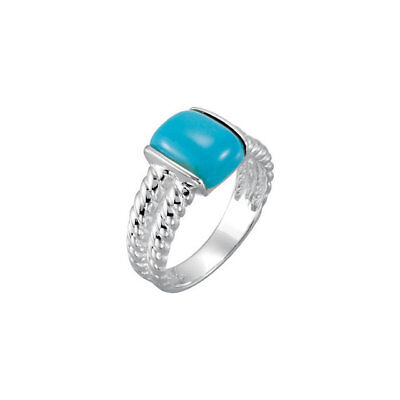 Genuine Chinese Turquoise 10x8 mm Cushion Solitaire Gem Ring 925 Sterling Silver