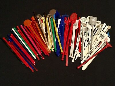 Vintage Stirrers~Swizzle Sticks~Large Lot 93~Plastic~Airlines~Hotels~Novelty