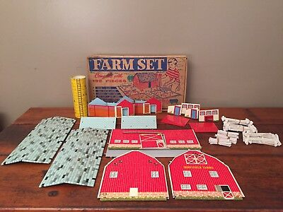 Vintage Tin Farm Set Buildings by OHIO ART Co. in Original Box -Not Put Together