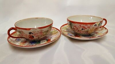 Antique Giesha Girl Tea Cups and Saucers