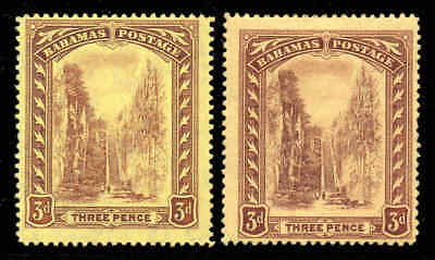Z. Bahamas 1911 KGV Staircase 3d wmk MCCA BOTH yellow shades SG 76, 76a mint #5