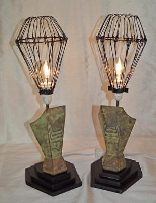 One Pair Of Upcycled Art Deco Style Table Lamps -Cast Metal / Wood / Wire Shade.