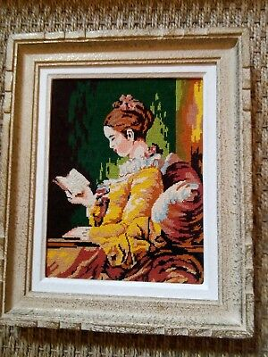 Vintage French Tapestry Cross Stitch Lady Reading Embroidered Fragonard Portrait