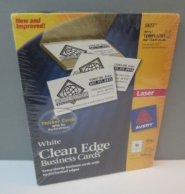 """New Avery 5877 White Clean Edge Business Cards Laser Printer 2"""" x 3.5"""" 400 cards"""