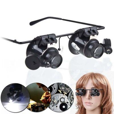 20X Mag Eyeglass Loupe Glasses &LED Watchmakers Magnifier Watch Repair Loupes SU