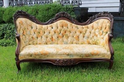 Authentic John Henry BELTER Rosewood Laminated Sofa Settee ~ ROSALIE w/ GRAPES
