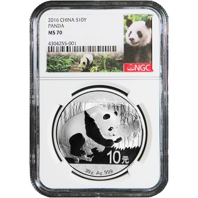 2016 10 Yuan Silver China Panda NGC MS70 Panda Label