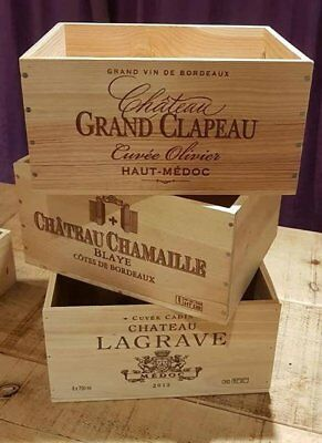 3 Pack French Wooden Wine Crate Boxes - Work Christmas Hamper Gift Box Present