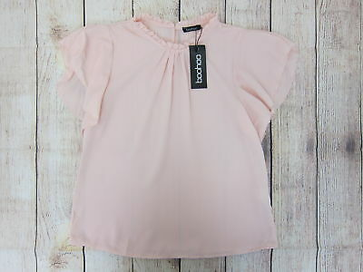 6d104aa160d521 Boohoo Women's Lily Woven Frill Sleeve & Neck Blouse US 4 Nude/Pink NWT