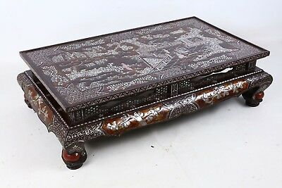 Chinese Lacquer Lac Bergaute Mother of Pearl Kang Table, Qing dynasty 17-18th C.