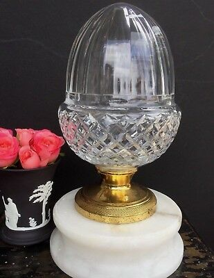 Antique Vintage Cut Crystal Newel Post Finial Acorn Shape Architectural Salvage