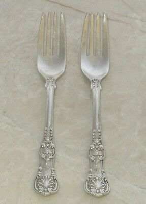 """Pair of TIFFANY & CO. Sterling Silver ENGLISH KING, 6"""" Dessert Fork, Monogrammed"""