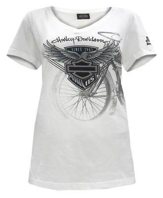 Harley-Davidson Women's 115th Anniversary Eagle Badge Short Sleeve Tee, White