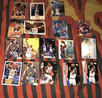 LOT Of 17 VINTAGE NBA BASKETBALL CARDS Of Patrick Ewing In 1990 New York Knicks