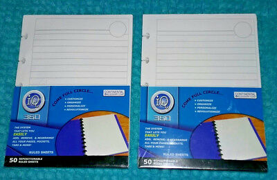 IQ 360 Notebook System 50 x 2 Repositionable Ruled Sheets Refills