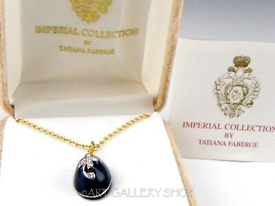 Tatiana Faberge IMPERIAL COLLECTION CRYSTALS & ENAMEL EGG NECKLACE PENDANT Box