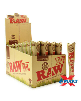 AUTHENTIC Raw Rolling Paper Pre-Rolled Organic Hemp Cones KING 4 Pks -12 Cones