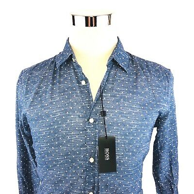 a9237f34114 Hugo BOSS Ronni Slim Fit Luxe Cotton Polka Dot Print Button Front Shirt  Mens NWT