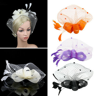 Eg _ Damen Retro Cocktail Tee Headpiece & Fascinator Hut Feder Netz